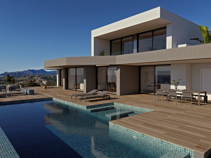 Modern luxury villa with sea views