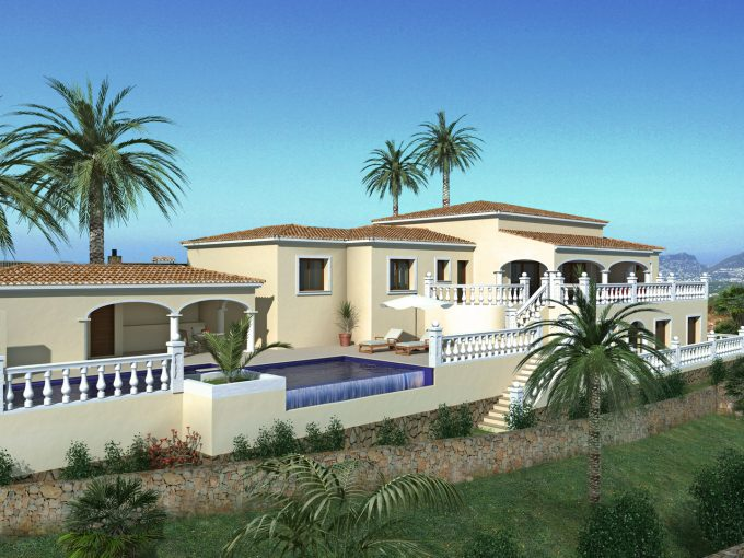 New build mediterranean villa with sea views